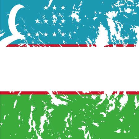 oezbekistan: vuile oezbekistan vlag achtergrond Stock Illustratie