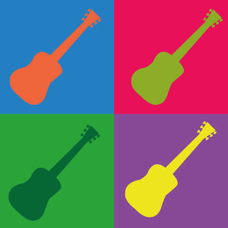 abstract guitar with different color on squares with different color Illustration