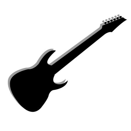 abstract guitar silhouette with shadow effect on white background Illustration