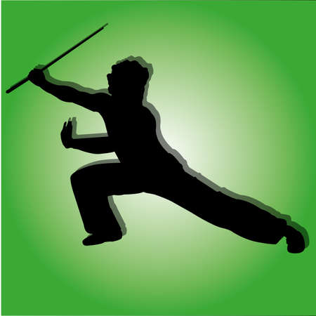 kung-fun man silhouette on special green background Illustration