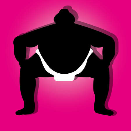 sumo man silhouette on special pink background