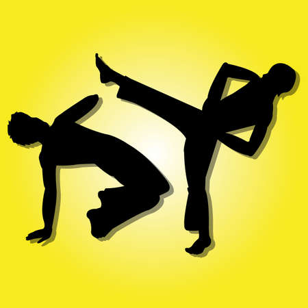Capoeira silhouette on special yellow gradient background Illustration