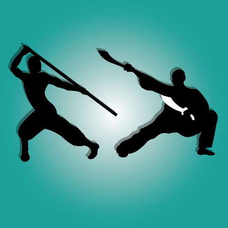 kung fu silhouette on special blue gradient background Illustration