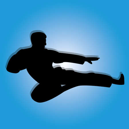 karate man silhouette on special blue background