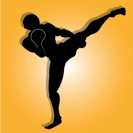 Muay thai man silhouette on special orange background Illustration