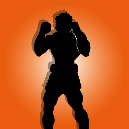 muay thai man silhouette on special orange background