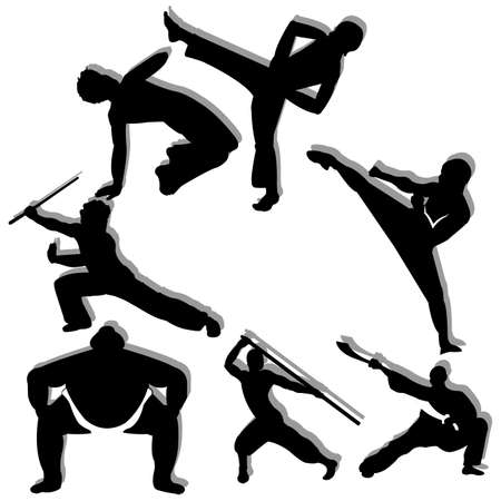 different martial arts man silhouette on white background