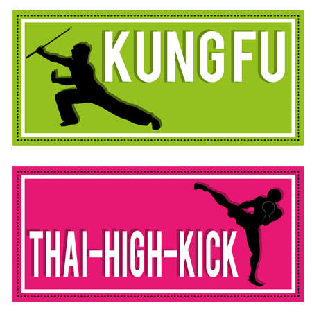 kungfu: kung-fu and Muay thai silhouettes on rectangles with different color