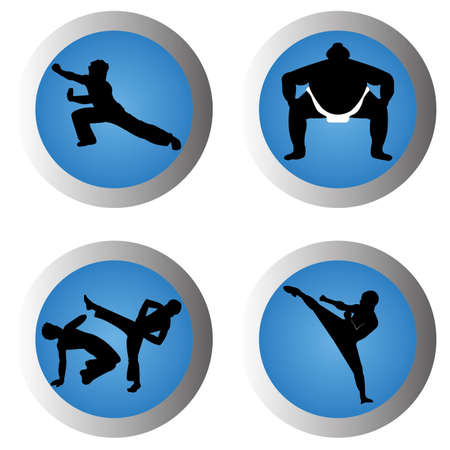 martial arts icons on blue gradient circles on white background Illustration