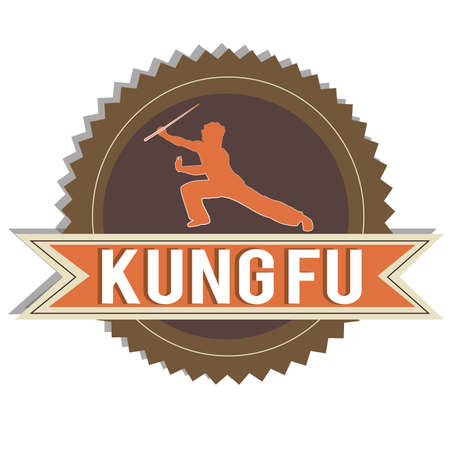 brown Kung fu label on white background