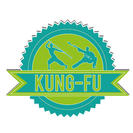 blue and green kung-fu label on white background