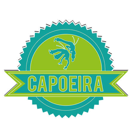 blue and green capoeira label on white background