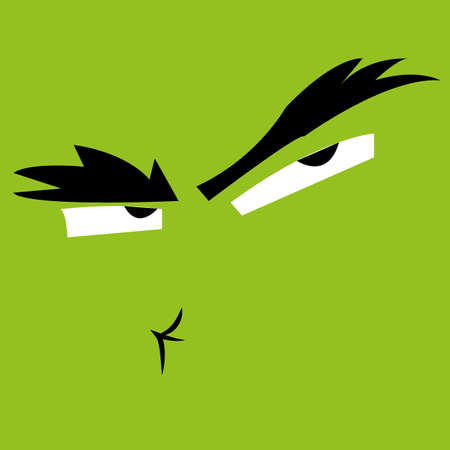 angry face: abstract angry face expression on green background