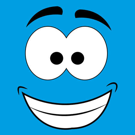 cute abstract happy face on blue background Vector