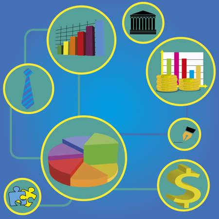 conection: iconos de negocios abstractos con una conexi�n abstracta sobre fondo azul especial