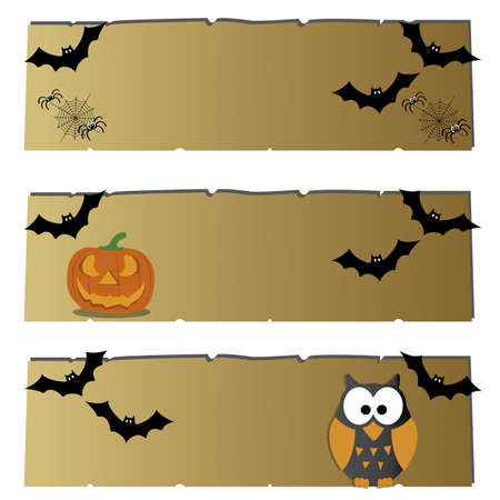 moon  owl  silhouette: different halloween icons on abstract papyrus paper
