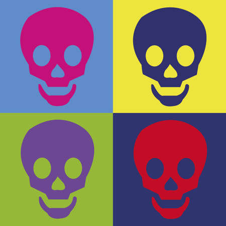 abstract skull on squares with different color Vector