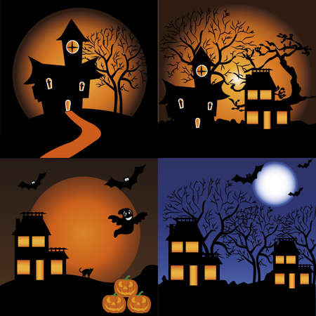 abstract house silhouette on different squares on special halloween background
