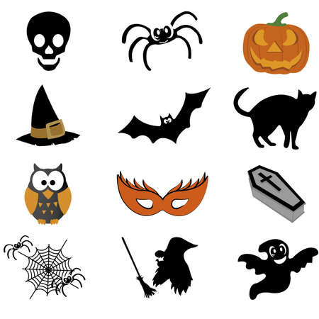 abstract halloween icons on white background