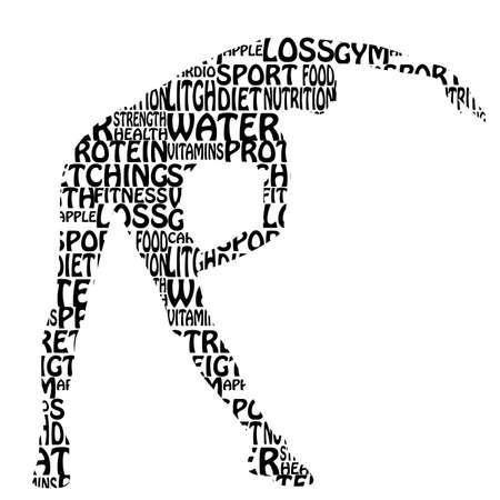 abstracte vrouw stretching haar lichaam op een witte achtergrond