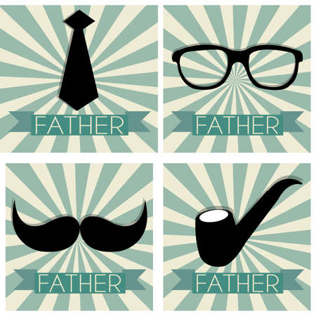 special fathers day symbols on different squares with special background Vector
