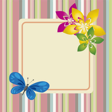 abstract spring flowers and cute butterfly on special background
