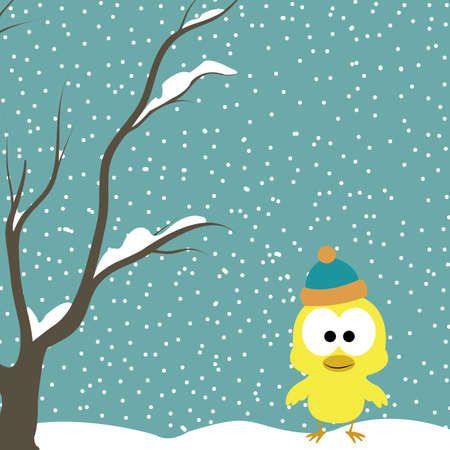 abstract cute chick on special winter background