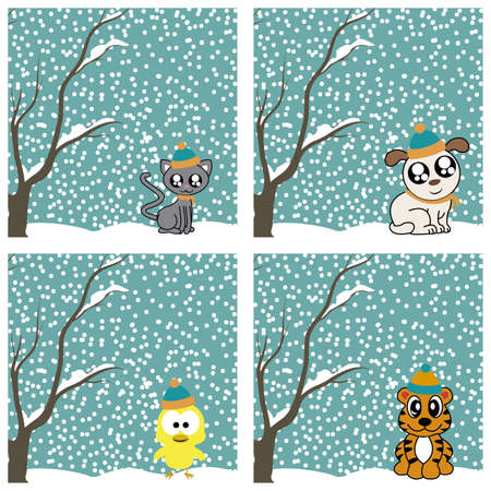 abstract cute animals on special winter background Vector