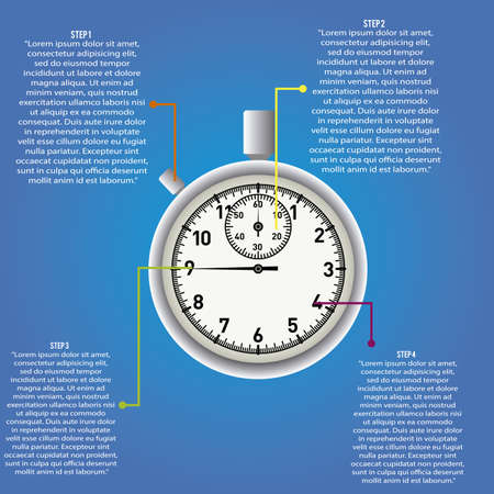abstract timer with information on blue background Vector
