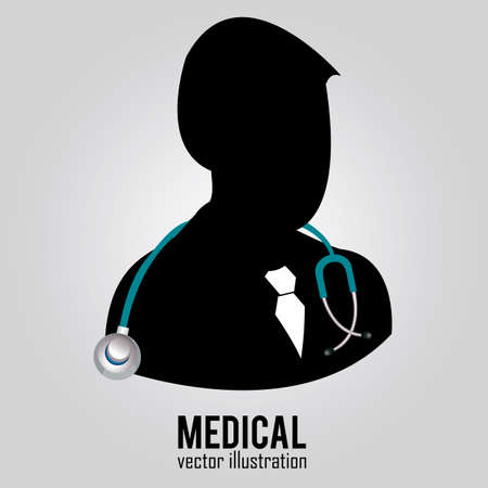 abstract doctor silhouette on special gray background Illustration