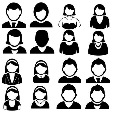 abstract different  people icons on white background Ilustracja