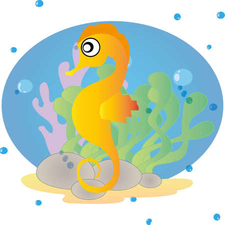 ocean background: abstract cute sea horse on special ocean background