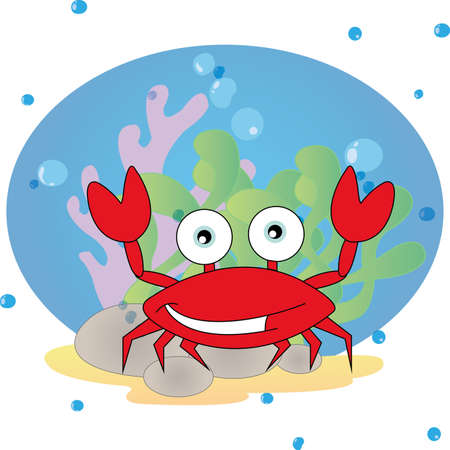 abstract cute crab on special ocean background Illustration