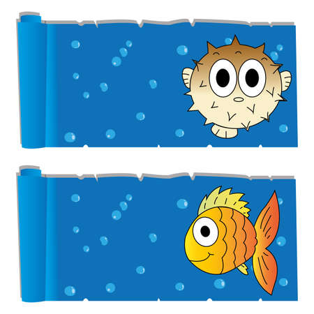 ocean background: abstract cute blowfish and fish on special ocean background