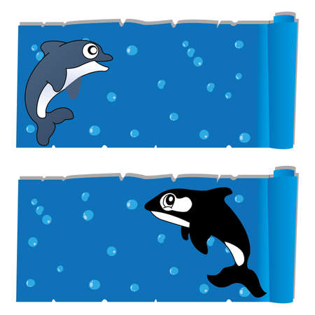 ocean background: abstract cute dolphin and killer whale on special ocean background