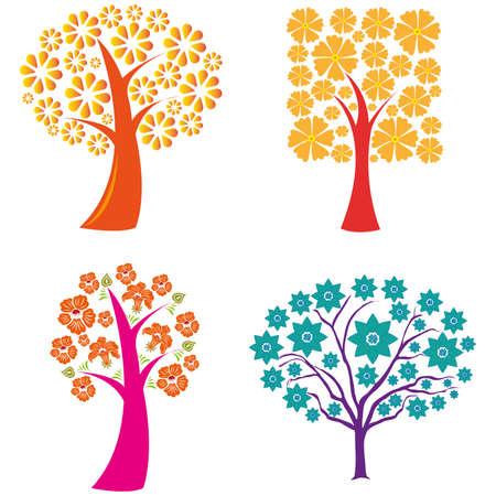 abstract cute trees on a white background Illustration