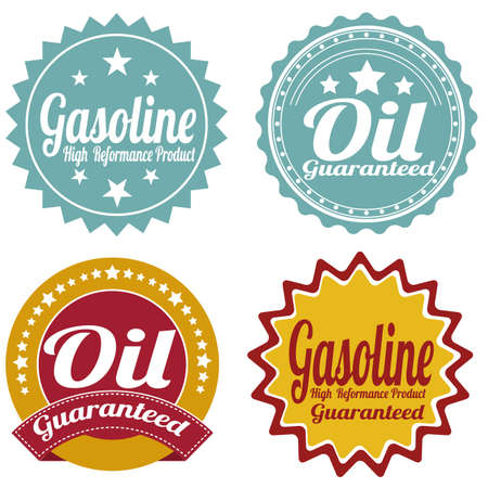 abstract oil industry labels on a white background