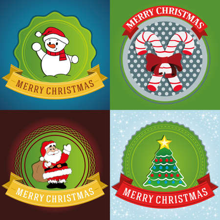 abstract christmas labels on a special background Vector