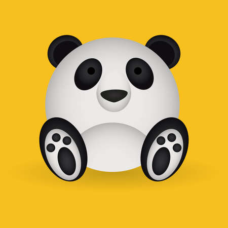 abstract cute panda on a yellow background Vector