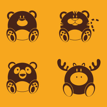 abstract cute animals on a yellow background Vector