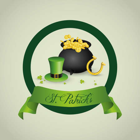 abstract St. Patricks day label with special objects Vector