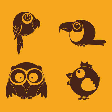 abstract cute birds on a yellow background Vector