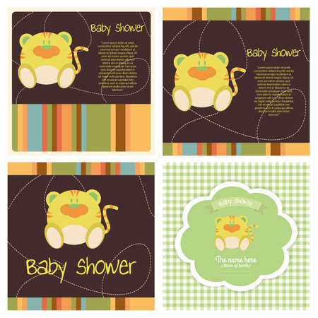 different abstract cute baby shower invitation card Vector