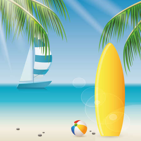 yellow adventure: abstract summer holiday vacations background with special objects Illustration
