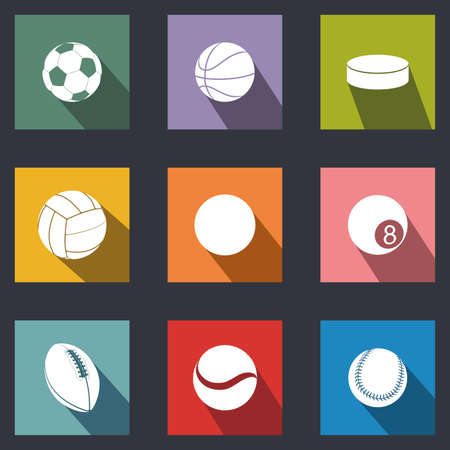 different sports balls on squares with different color Vector