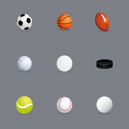 soccer coach: different sports ball on a gray background Illustration