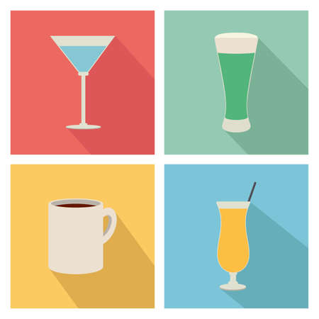 aerated: different isolated beverage on squares with different color Illustration