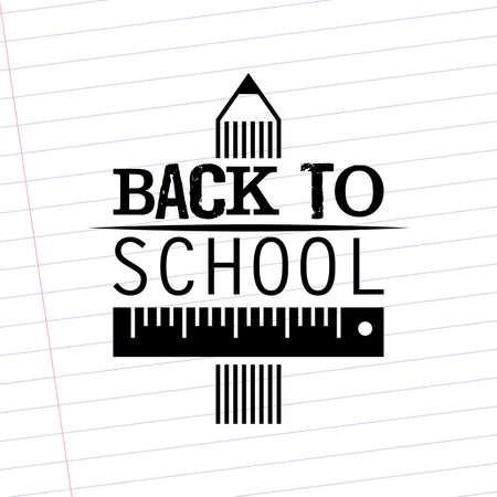 abstract back to the school text on a white background Vector