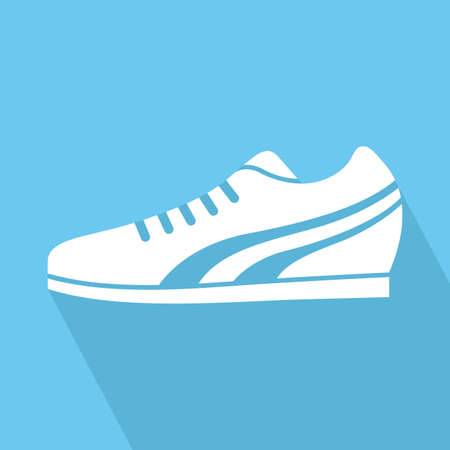 running shoes: abstract fitness object with shadow effect on a blue background