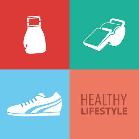 abstract healthy lifestyle objects on squares with different color Vector
